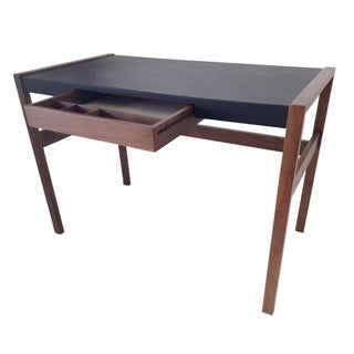 DWR Risom Walnut and Leather Desk