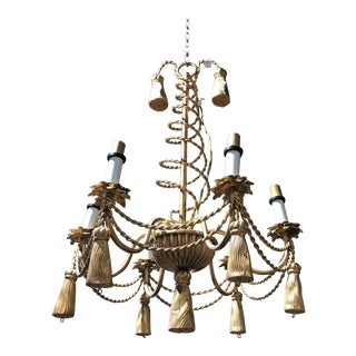 Hollywood Regency Gold Tassel Chandelier