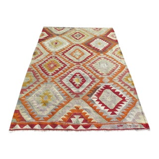 "Vintage Turkish Kilim Area Rug - 4'3"" X 6'1"""