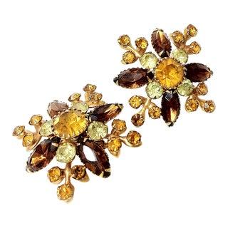 Judy-Lee Amber Brown Rhinestone Earrings