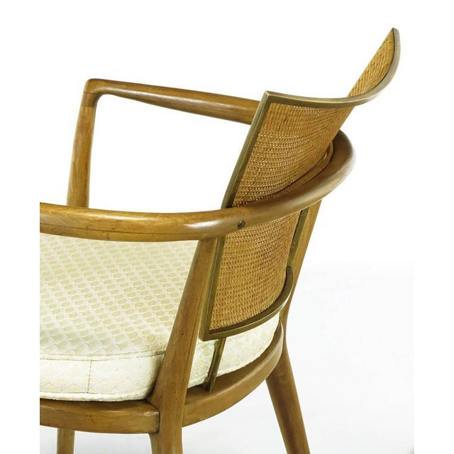 Set of Six Bert England Mahogany, Brass and Cane Dining Chairs - Image 6 of 7