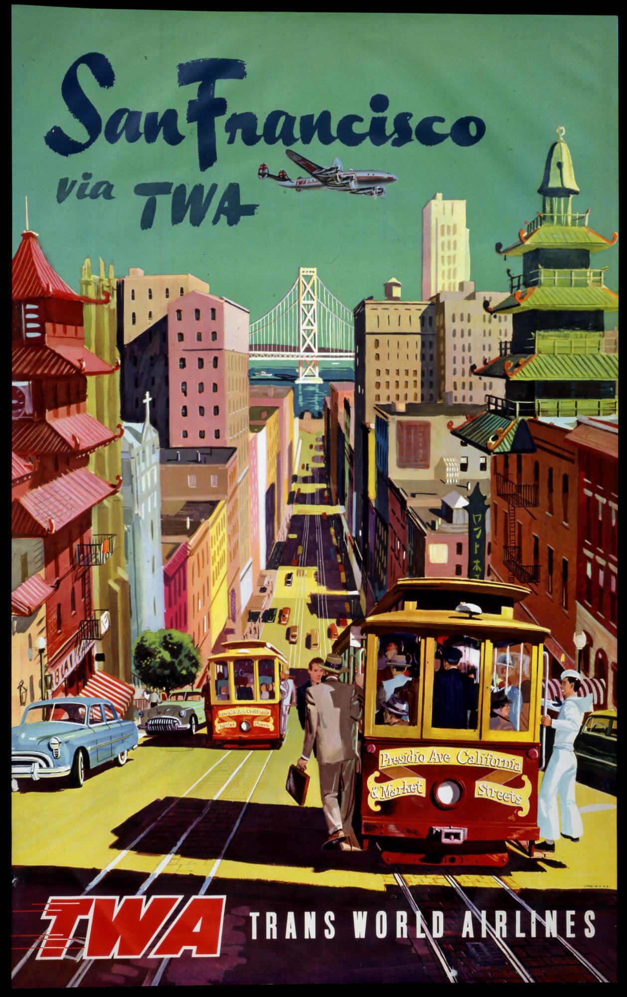 Superior Matted And Framed Vintage San Francisco Travel Poster   Image 3 Of 3