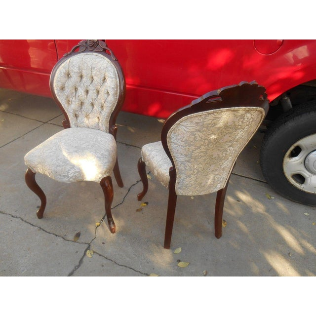 French Louis XV Style Hand Carved Dining / Fireside Chairs - Pair - Image 4 of 6