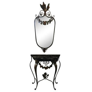 Italian Wrought Iron Entry Table & Mirror