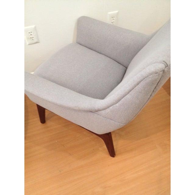 Danish Modern Upholstered Lounge Chair & Ottoman - Image 4 of 11