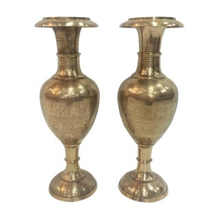 Large Engraved Brass Vases - A Pair
