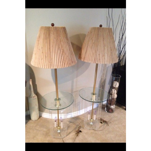 Mid-Century Lucite Glass Table Lamps - A Pair - Image 6 of 7