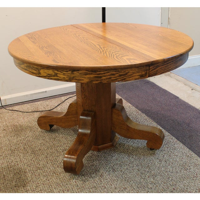 Antique Round Oak Extending Dining Table Chairish