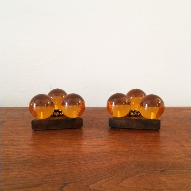 Vintage Amber Resin & Wood Candleholders - A Pair - Image 5 of 7