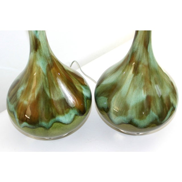 Mid-Century Restored Green Pottery Lamps - Pair - Image 6 of 9