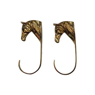 Brass Horse Head Hooks - A Pair