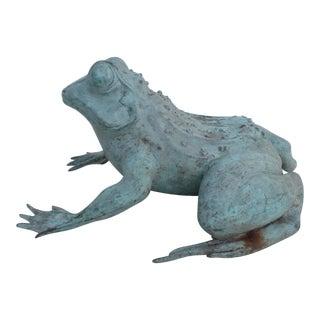 Vintage Bronze Frog Garden Statue