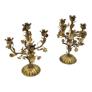 Vintage Italian Hollywood Regency Iron Floral Gold Candle Holders - a Pair