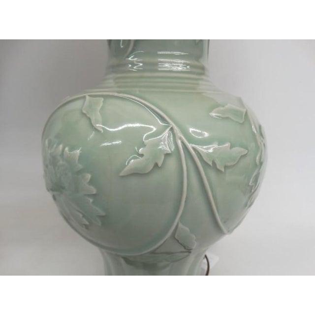 Antique Celadon Porcelain Lamps - Pair - Image 3 of 5