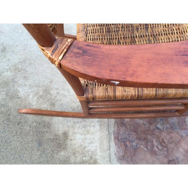 Teak Rattan Rocking Chair - Image 8 of 11