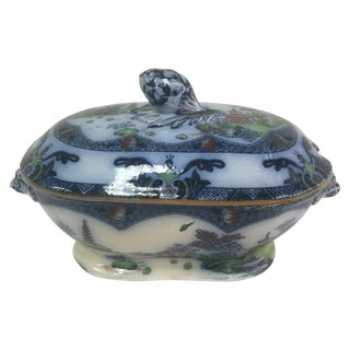 Spode Flow Blue & Polychrome Sauce Tureen