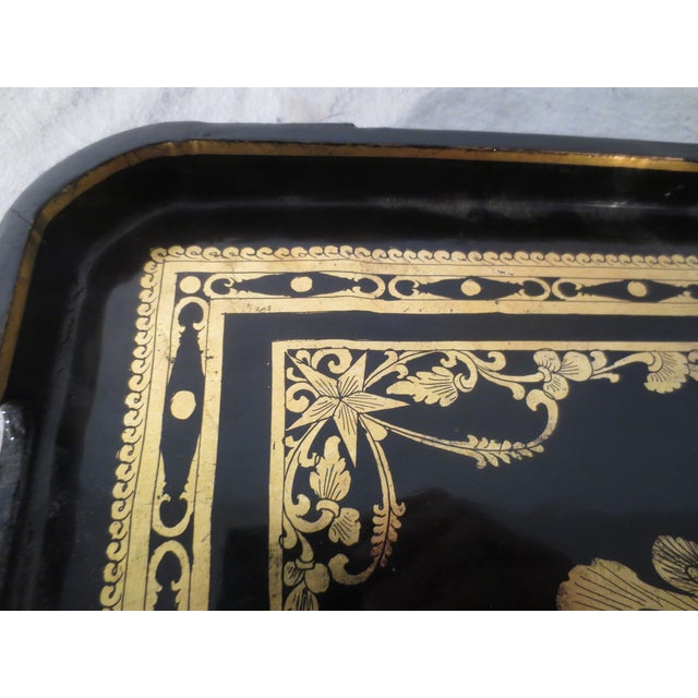 Antique English Black Lacquer Tray - Image 5 of 7