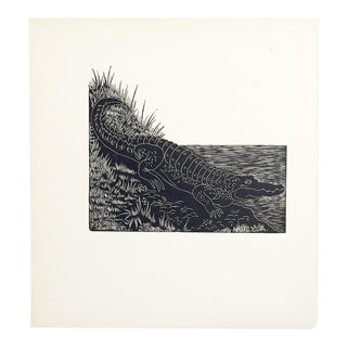Alligator Block Print Illustration
