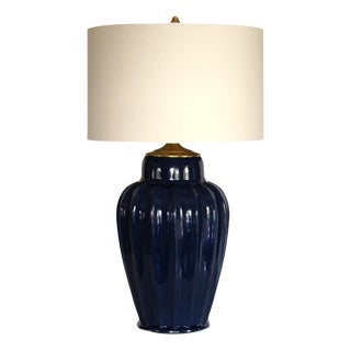 Vintage Navy Blue Ceramic Lamp, W/Shade