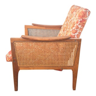 Mid-Century Upholstered Cane Lounge Chair