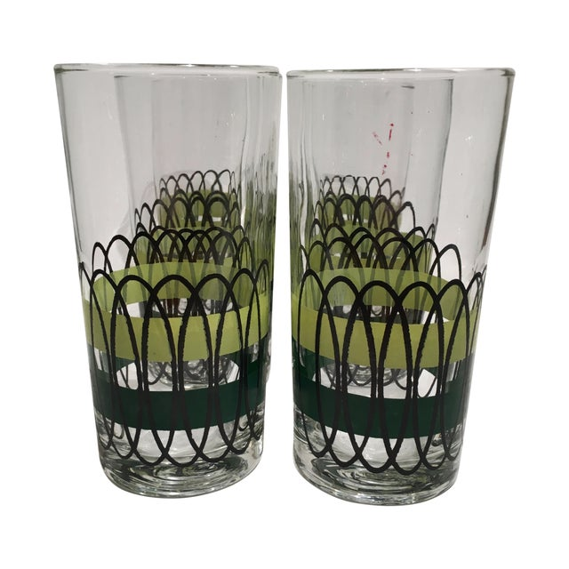 Green and Black Libbey Tumblers - S/6 - Image 1 of 6