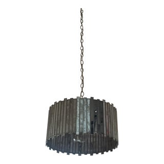 Antiqued Mirror Drum Pendant Light