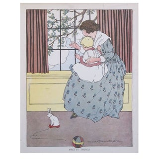 Vintage Matted British Children's Print of Bunny