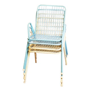 Mid Century Modern Metal Stacking Patio Chairs - Set of 4