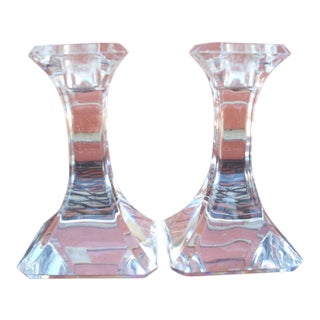 Orrefors Clear Crystal Candlesticks - a Pair