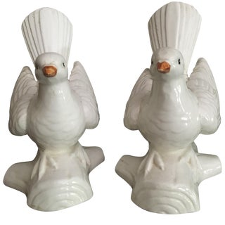 Fitz & Floyd White Dove Ceramic Bookends - Pair