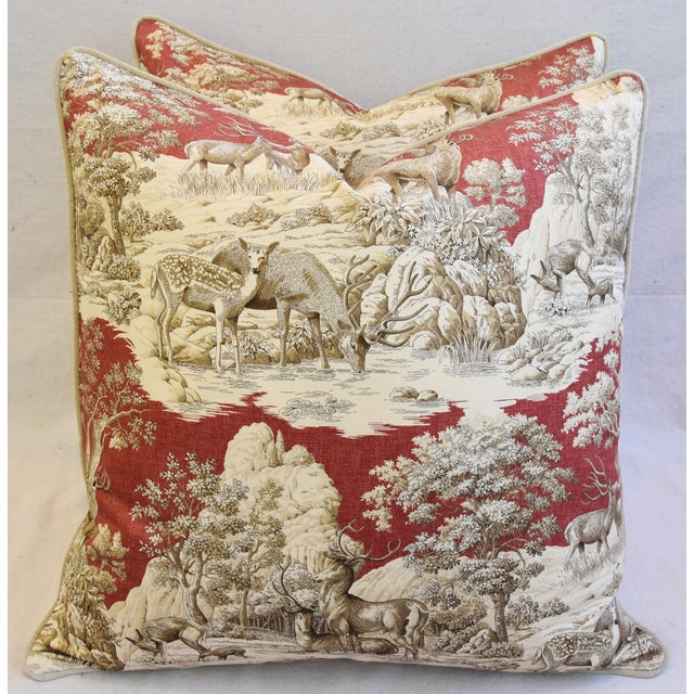 Custom Woodland Toile Deer & Velvet Pillows - a Pair - Image 8 of 10