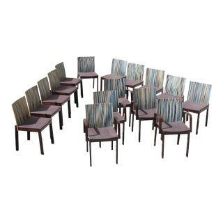 Stunning Set of Sixteen French Art Deco / Art Modern '' Stripes Vertical'' Dining Chairs Circa 1940s.
