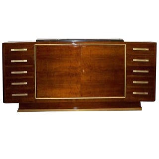 Andre Renou and Jean-Pierre Genisset Important Sideboard in Walnut and Bronze, France circa 1948