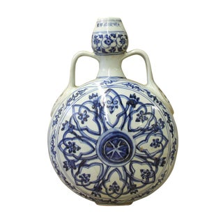 Chinese Blue White Porcelain Flower Graphic Flat Flask Vase cs3011