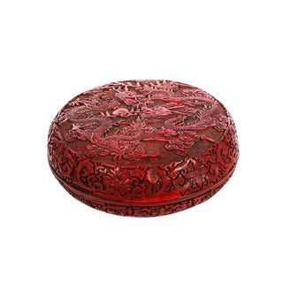 Antique Chinese Carved Cinnabar Lidded Box
