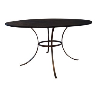 Arteriors Black Metal & Brass Oval Dining Table
