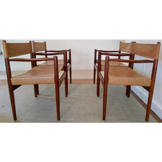 Arne Norell-Style Safari Sling Rosewood Chairs - Set of 4 - Image 5 of 8