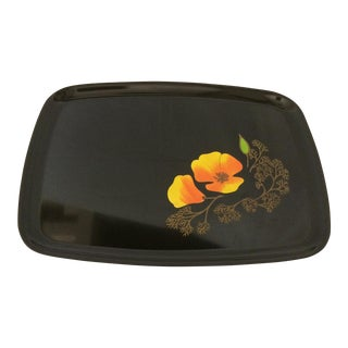 Vintage California Poppy Serving Tray by Couroc