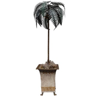 A Painted Tole Palm Tree on a Tole Jardiniere Raised on Bronze Paw Feet