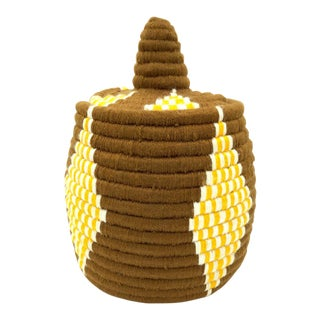 Brown & Yellow Moroccan Tribal Wool Tray