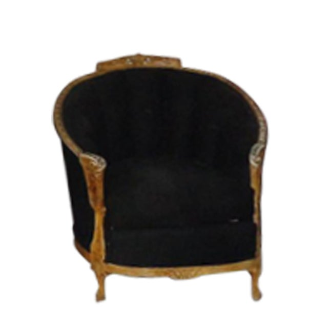 Antique Black Chair With Carved Wood Rails - Image 1 of 7