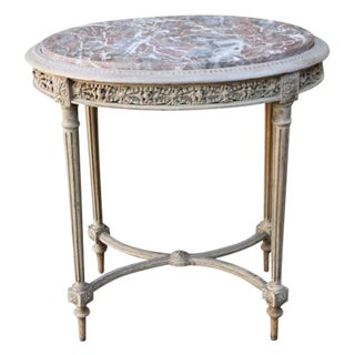 Louis XVI-Style Side Table With Marble Top