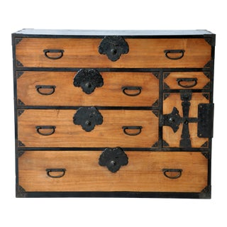 Japanese Tansu with Black Color Hardware