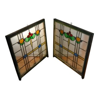 1920s Vintage Stained Glass Window Panels - Pair