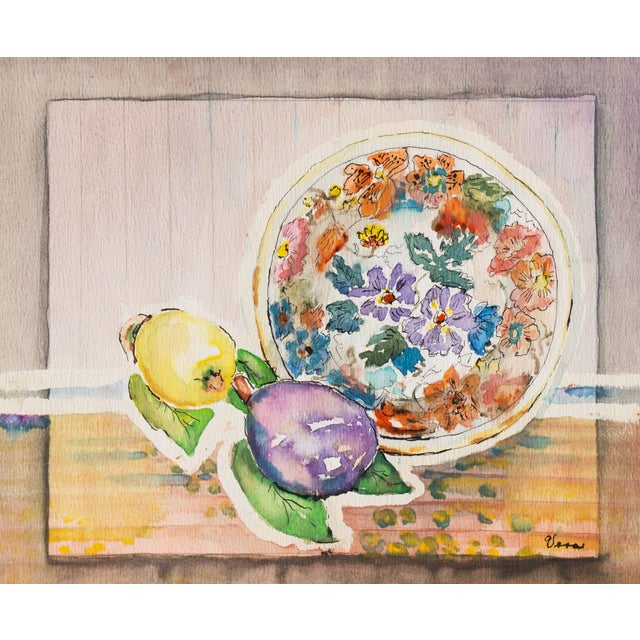 Plate & Fruit by Vera Indenbaum, 1984 Painting - Image 1 of 5
