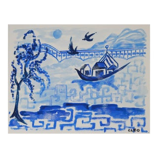 Blue Willow Inspired Landscape Painting