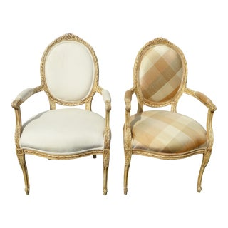 Vintage French Provincial Style Carved Wood White & Plaid Accent Chairs - A Pair