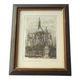 Vintage Notre Dame Paris Etching