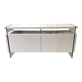 Modern Lacquered and Glass Credenza