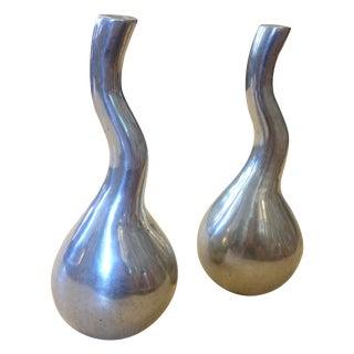 Oblong Aluminum Vases - A Pair